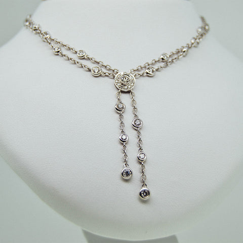 White gold double necklace with diamonds from GoldQuestJewelers jewelry store in Boston MA