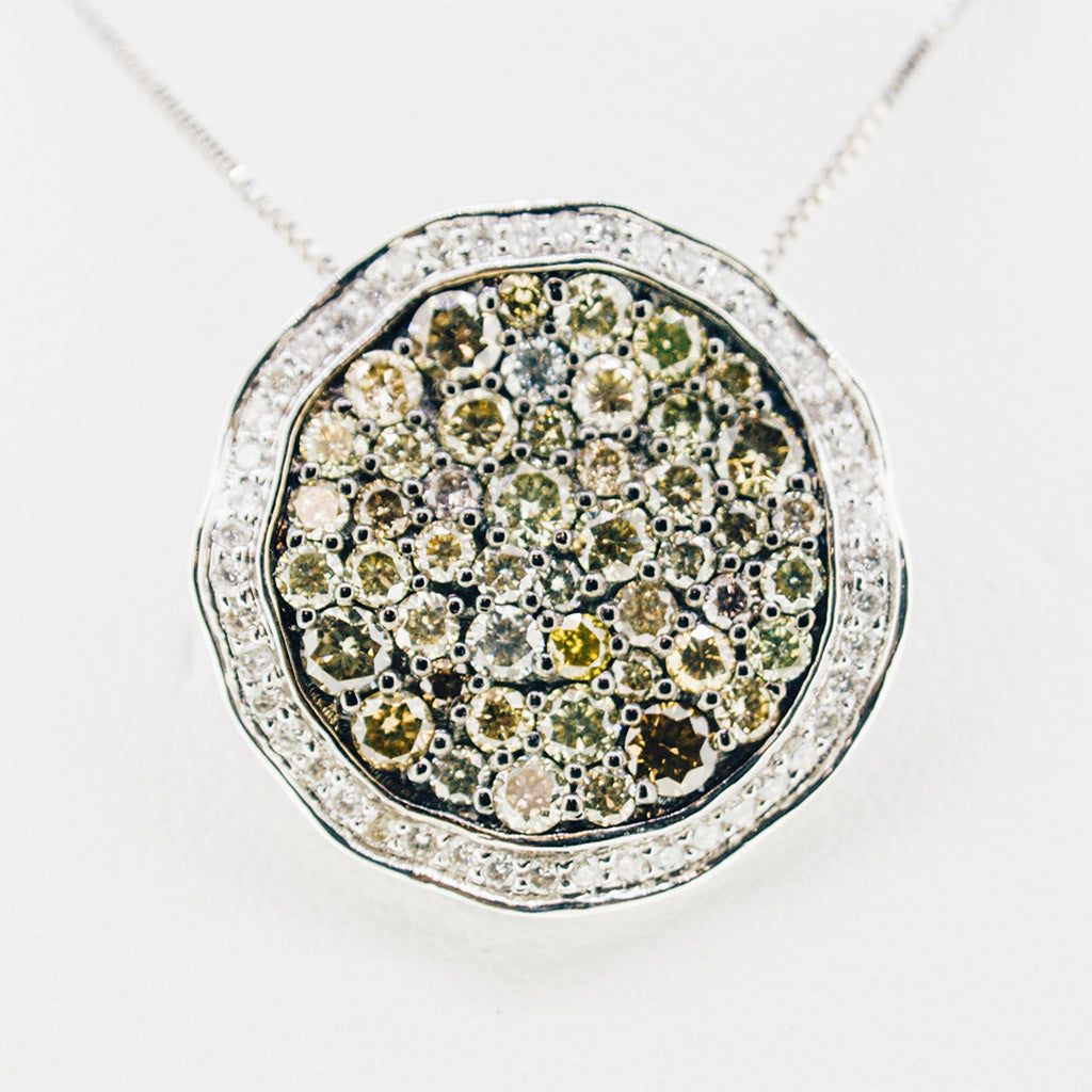 White gold handmade necklace with diamonds and myriad of stones from GoldQuestJewelers near Boston MA