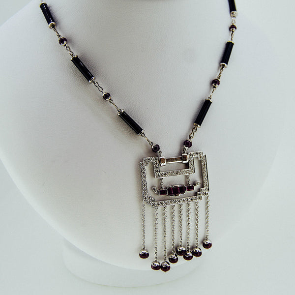 White gold handmade necklace with diamonds and rubies from GoldQuestJewelers near Boston MA