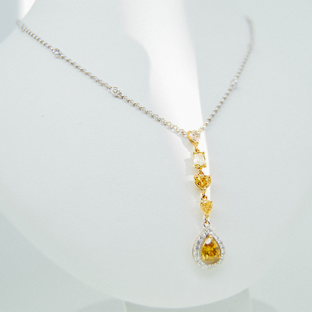 Natural yellow champagne diamonds with diamonds by the yard pendant white gold handmade pendant with diamonds and citrine stones from goldquestjewelers near boston ma mozeypictures Images