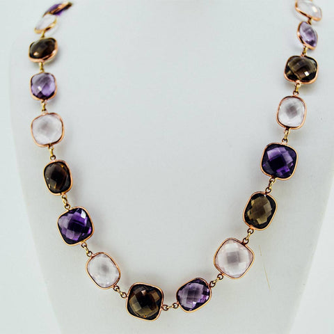 Three colors precious stones necklace from our jewelry store downtown boston MA