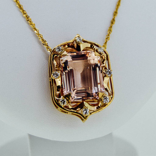 Yellow gold morganite pendant by GoldQuest Jewelers in ...