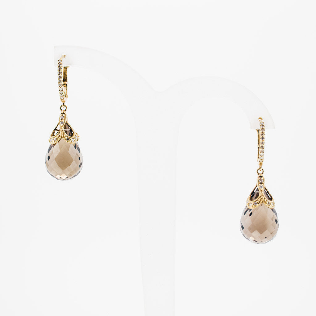 Yellow gold tourmaline drop earrings from GoldQuestJewelers jewelry store near boston MA
