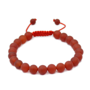 Natural Matte Red Agate 8mm Gemstone Healing Power Crystal Adjustable Macrame Bracelet