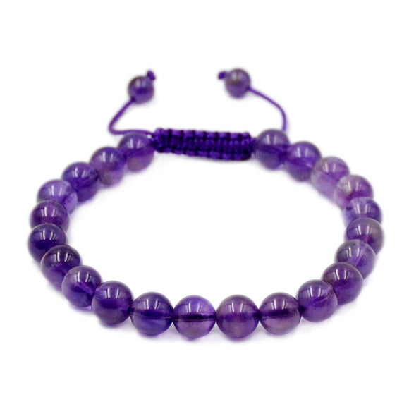 Natural Amethyst 8mm Gemstone Healing Power Crystal Adjustable Macrame Bracelet