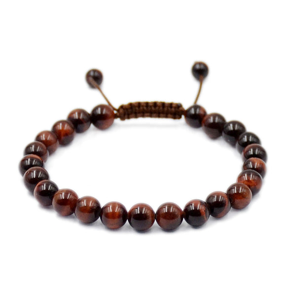 Natural Red Tiger's Eye 8mm Gemstone Healing Power Crystal Adjustable Macrame Bracelet
