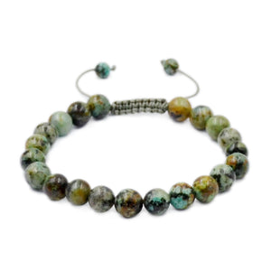 Natural African Turquoise 8mm Gemstone Healing Power Crystal Adjustable Macrame Bracelet