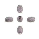 Oval Cubic Zirconia Rhinestones Spacer 18K Plated Metal Finding Connector Charm Beads