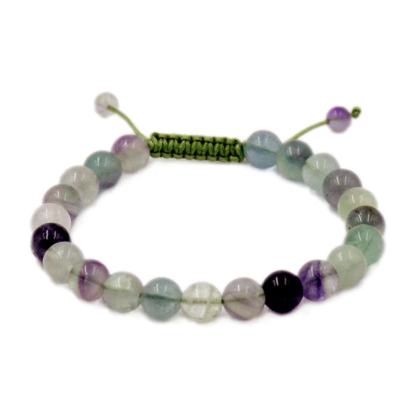 Natural Fluorite 8mm Gemstone Healing Power Crystal Adjustable Macrame Bracelet