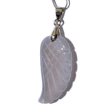 Natural Gemstone Carved Angel Wing Reiki Chakra Healing Necklace Pendant