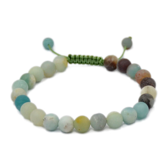 Natural Matte Colorful Amazonite 8mm Gemstone Healing Power Crystal Adjustable Macrame Bracelet