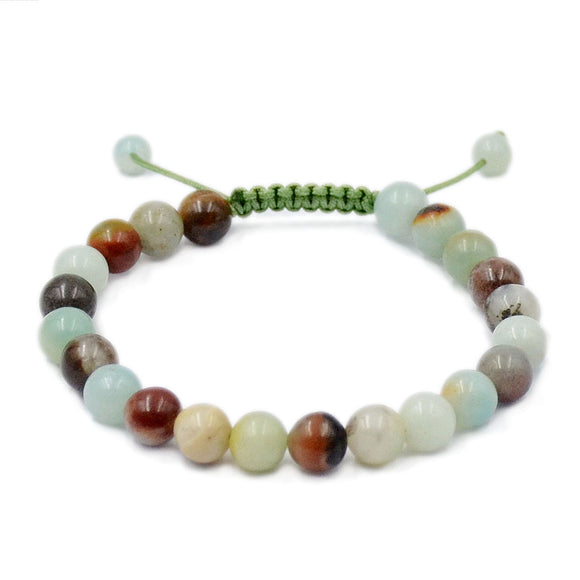 Natural Colorful Amazonite 8mm Gemstone Healing Power Crystal Adjustable Macrame Bracelet
