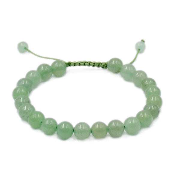 Natural Green Aventurine 8mm Gemstone Healing Power Crystal Adjustable Macrame Bracelet