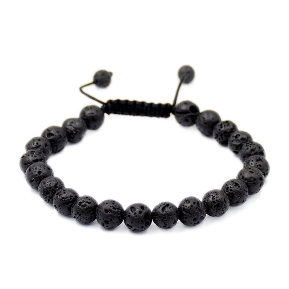 Natural Black Rock Lava 8mm Gemstone Healing Power Crystal Adjustable Macrame Bracelet