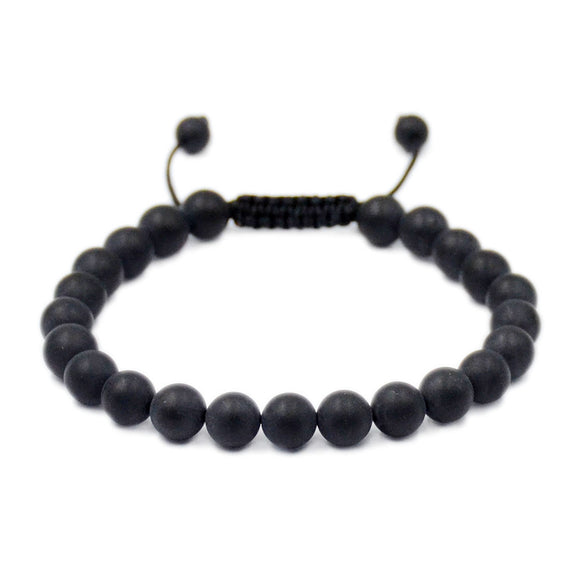 Natural Matte Black Onyx 8mm Gemstone Healing Power Crystal Adjustable Macrame Bracelet