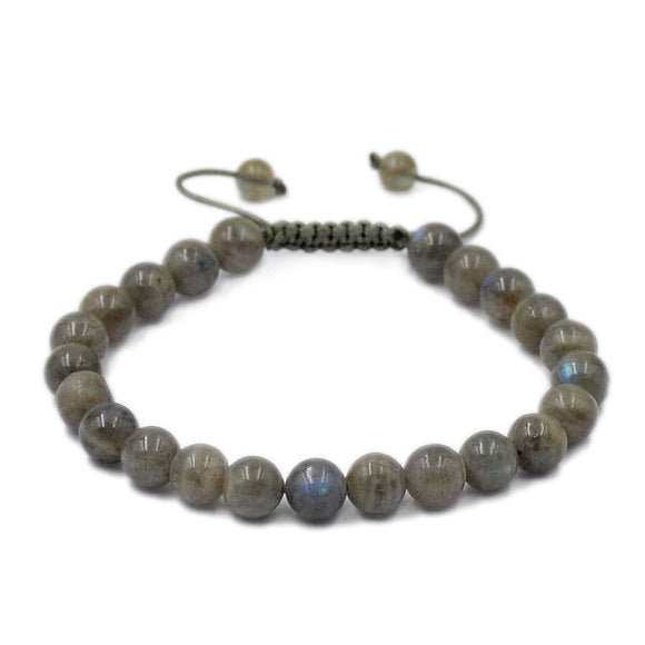 Natural Labradorite 8mm Gemstone Healing Power Crystal Adjustable Macrame Bracelet
