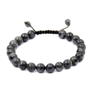 Natural Larvikite Labradorite 8mm Gemstone Healing Power Crystal Adjustable Macrame Bracelet