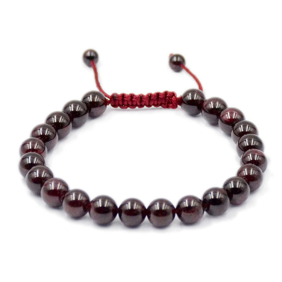 Natural Red Garnet 8mm Gemstone Healing Power Crystal Adjustable Macrame Bracelet