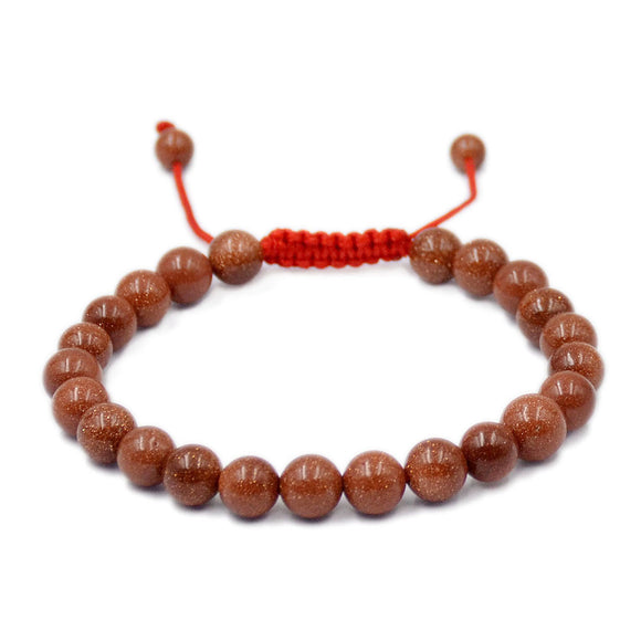 Natural Golden Sandstone 8mm Gemstone Healing Power Crystal Adjustable Macrame Bracelet