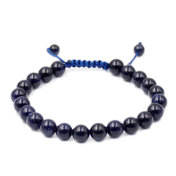 Natural Blue Sandstone 8mm Gemstone Healing Power Crystal Adjustable Macrame Bracelet