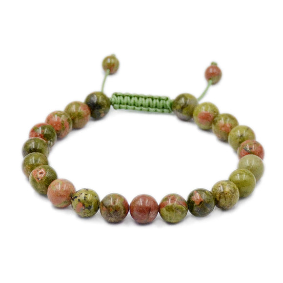 Natural Unakite Jasper 8mm Gemstone Healing Power Crystal Adjustable Macrame Bracelet