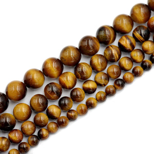 "Natural Tiger's Eye Gemstone Smooth Round Loose Beads on a 7.5"" Strand"