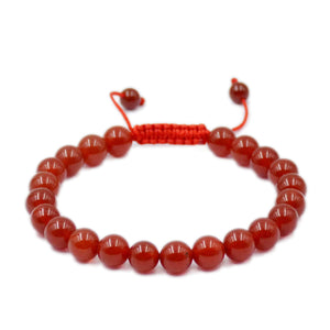 Natural Red Agate 8mm Gemstone Healing Power Crystal Adjustable Macrame Bracelet
