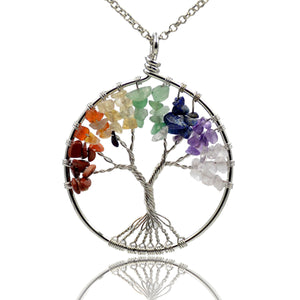 Tree of Life Pendant Necklace Chakra Gemstone 50mm Silver Wrap