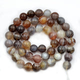 Natural Smooth Botswana Agate Gemstone Round Loose Beads on a 15.5'' Strand