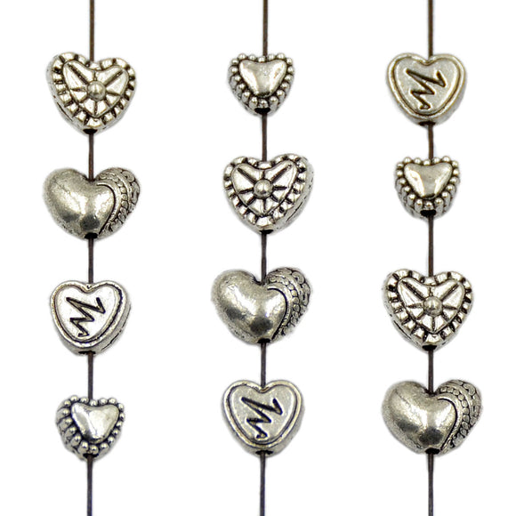 Tibetan Heart Silver Metal Finding Connector Spacer Charm Beads 50 Pcs