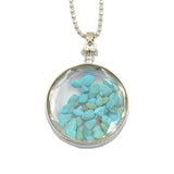 Natural Gemstone Chips Reiki Healing Point Round Pendant Necklace Silver Plated 40mm