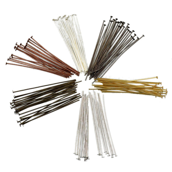 Flat Head Pins Metal Finding Jewelry Making 100 Pcs 0.7x45mm