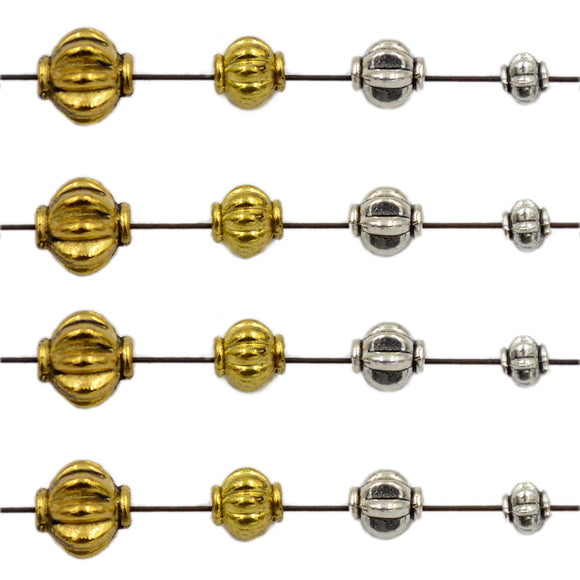 Tibetan Pumpkin Silver & Gold Metal Finding Connector Spacer Charm Beads 50 Pcs