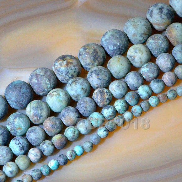 Matte Natural African Turquoise Gemstone Round Loose Beads on a 15.5