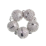 Magnetic Round Clasp Cubic Zirconia Rhinestones Spacer 18K Plated Metal Finding Connector Charm Beads