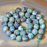 "Matte Natural African Turquoise Gemstone Round Loose Beads on a 15.5"" Strand"
