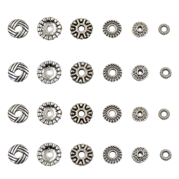 Tibetan Rondelle Silver Metal Finding Connector Spacer Charm Beads 50 Pcs