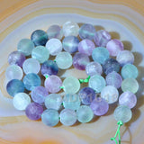 "Matte Natural Fluorite Gemstone Round Loose Beads on a 15.5"" Strand"