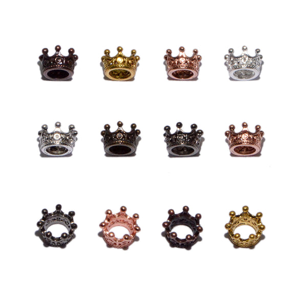 Solid Metal Finding Queen Crown Big Hole Connector Spacer Charm Beads 10 Pcs