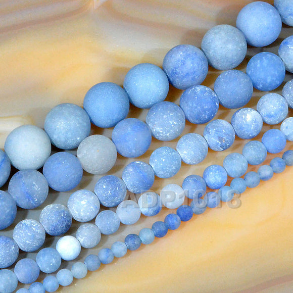 Matte Natural Blue Aventurine Gemstone Round Loose Beads on a 15.5
