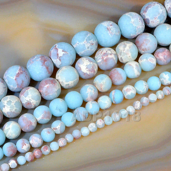 Matte Natural Sediment Jasper Gemstone Round Loose Beads on a 15.5