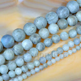 "Matte Natural Labradorite Gemstone Round Loose Beads on a 15.5"" Strand"
