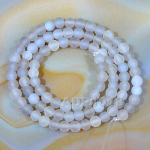 "Matte Natural Gray Agate Gemstone Round Loose Beads on a 15.5"" Strand"