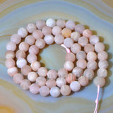 "Matte Natural Sun Stone Gemstone Round Loose Beads on a 15.5"" Strand"