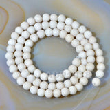 "Matte Natural Fossil Gemstone Round Loose Beads on a 15.5"" Strand"