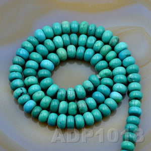 "Natural Blue Turquoise Gemstone Smooth/Matte/Faceted Rondelle Loose Beads on a 15.5"" Strand"