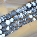 "Matte Natural White Black Zebra Gemstone Round Loose Beads on a 15.5"" Strand"