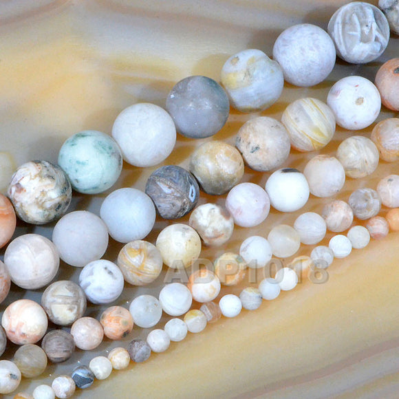 Matte Natural Bamboo Leaf Agate Gemstone Round Loose Beads on a 15.5