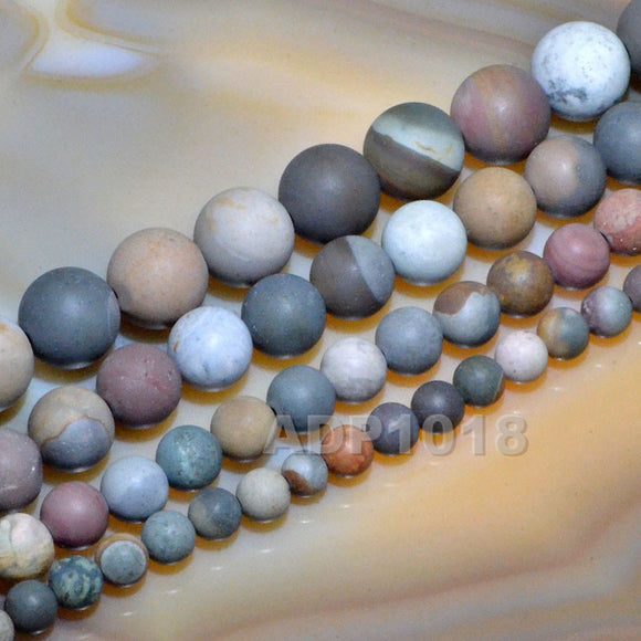 Matte Natural Imperial Jasper Gemstone Round Loose Beads on a 15.5