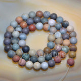 "Matte Natural Imperial Jasper Gemstone Round Loose Beads on a 15.5"" Strand"